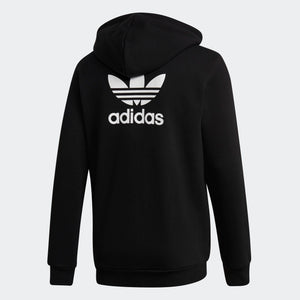 Mens Adidas Originals Fleece Trefoil Hoodie Sweatshirt In Black White