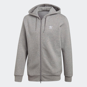 Mens Adidas Originals Fleece Trefoil Hoodie Sweatshirt In Heather Grey - Simons Sportswear