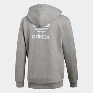 Mens Adidas Originals Fleece Trefoil Hoodie Sweatshirt In Heather Grey