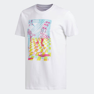 Mens Adidas Originals Macrum Tee Shirt In White Pink Yellow