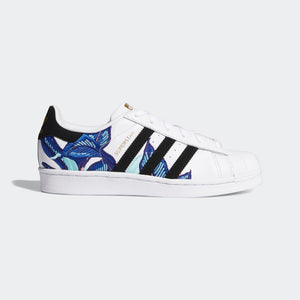 Mens Adidas Originals Superstar Shell Toe Sneaker In White Floral Blue - Simons Sportswear
