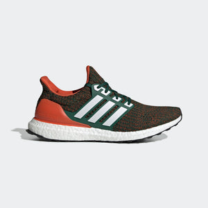 Mens Adidas Originals Ultraboost Shoe In Dark Green Cloud White Collegiate Orange