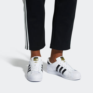 Mens Adidas Superstar Foundation Shell Toe Classic Sneaker In White Black - Simons Sportswear