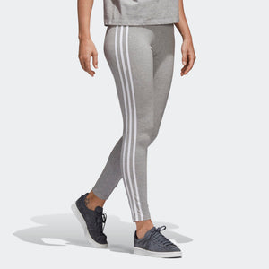 Womens Adidas 3-Stripes Tights Leggings In Grey Heather - Simons Sportswear