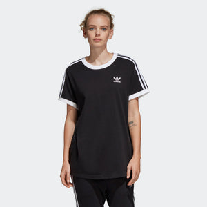 Womens Adidas 3-Stripes Tee Shirt In Black White