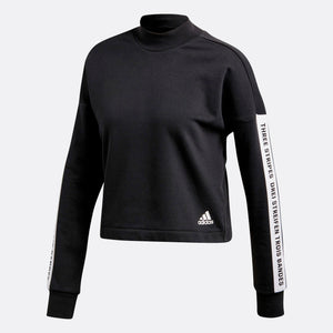 Womens Adidas Athletics Sport Id Crop Sweatshirt In Black - Simons Sportswear