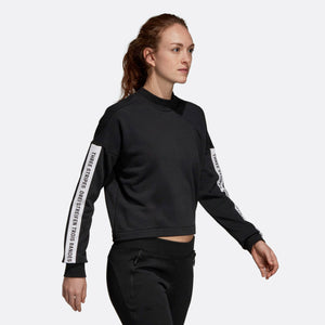 Womens Adidas Athletics Sport Id Crop Sweatshirt In Black