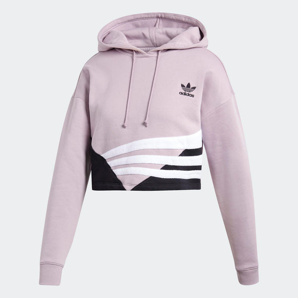 bad196fe07e Womens Adidas Cropped Hoodie Sweatshirt In Soft Vision Pink Black ...