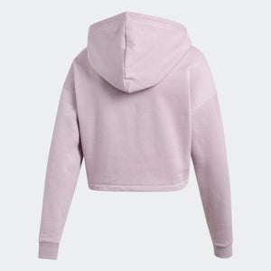 Womens Adidas Cropped Hoodie Sweatshirt In Soft Vision Pink Black