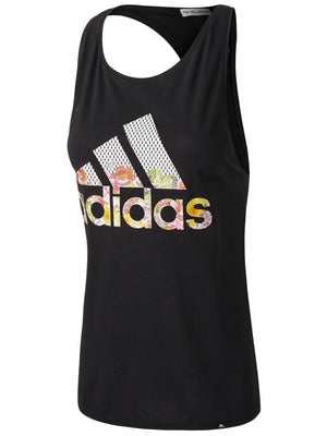 Womens Adidas Essentials Floral Tank Shirt In Black Floral Print