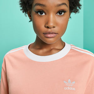Womens Adidas Originals 3-Stripes Tee Shirt In Dust Pink