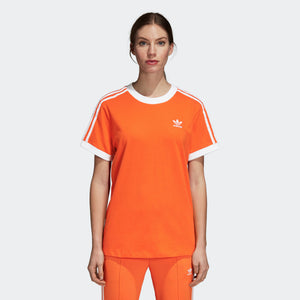 Womens Adidas Originals 3-Stripes Tee Shirt In Orange