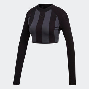 Womens Adidas Originals Aa-42 Knit Crop Top Shirt In Black