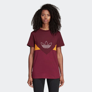 Womens Adidas Originals Clrdo Tee Shirt In Maroon