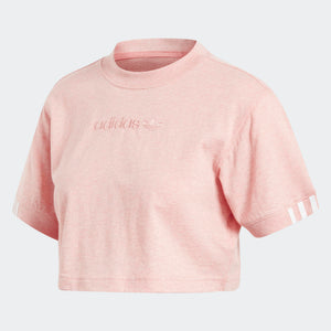 Womens Adidas Originals Coeeze Crop Tee Shirt In Trace Pink Mel