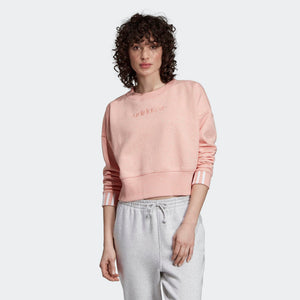 Womens Adidas Originals Coeeze Cropped Crew Sweatshirt In Trace Pink - Simons Sportswear