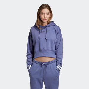 Womens Adidas Originals Coeeze Cropped Hoodie Sweatshirt In Raw Indigo Blue - Simons Sportswear