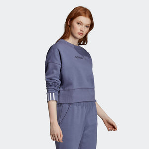Womens Adidas Originals Coeeze Cropped Sweatshirt In Raw Indigo Blue - Simons Sportswear