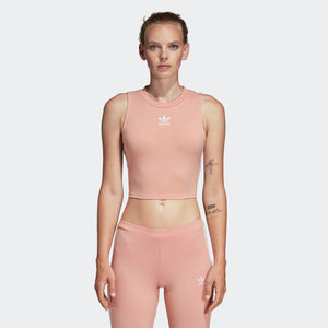 Womens Adidas Originals Crop Top Shirt In Dust Pink