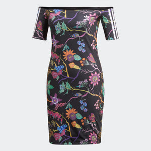 Womens Adidas Originals No-Shoulder Reversible Dress In Black Floral Print - Simons Sportswear