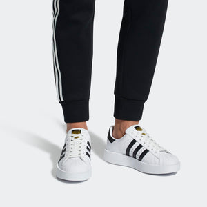 Womens Adidas Originals Superstar Bold Platform Shoe In White Black - Simons Sportswear