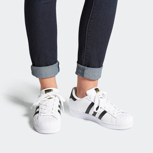 Womens Adidas Originals Superstar Shell Toe Classic Sneakers In White Black - Simons Sportswear