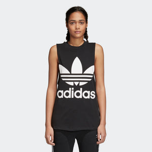 Womens Adidas Originals Trefoil Tank Top Shirt In Black White