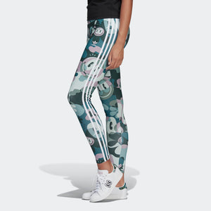 Womens Adidas Originals X Hattie Stewart 3-Stripes Toon Camo Tights Leggings In Multi Camo - Simons Sportswear
