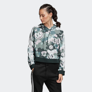 Womens Adidas Originals X Hattie Stewart Cropped Hoodie Toon Camo Sweatshirt In Multi Camo