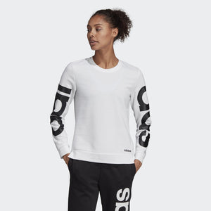 Womens Adidas Training Essentials Long Sleeve Crewneck Sweatshirt In White Black - Simons Sportswear
