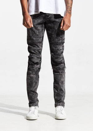 Mens Crysp Denim Ali Acid Wash Biker Jeans In Charcoal