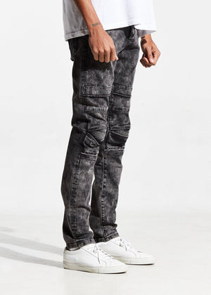 Mens Crysp Denim Ali Acid Wash Biker Jeans In Charcoal - Simons Sportswear