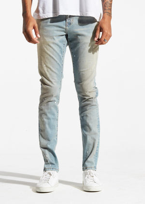 Mens Crysp Denim Atlantic Blue Sand Paint Jeans In Blue Sand - Simons Sportswear