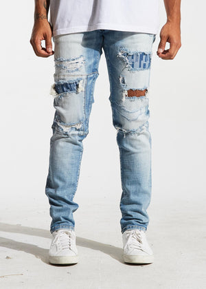 Mens Crysp Denim Atlantic Distressed Denim Jeans In Blue Ripped - Simons Sportswear