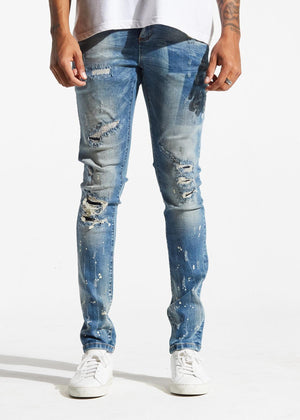 Mens Crysp Denim Atlantic Rip And Repair Jeans In Vintage Blue - Simons Sportswear