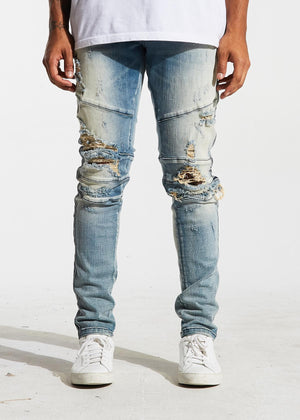 Mens Crysp Denim Montana Distressed Denim Jeans In Sandy Blue - Simons Sportswear