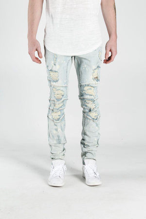 Mens Crysp Denim Montana Light Wash Ripped Jeans In Light Blue