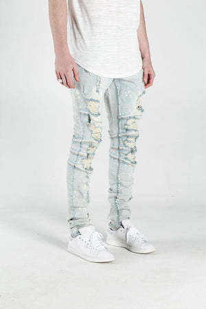 Mens Crysp Denim Montana Light Wash Ripped Jeans In Light Blue - Simons Sportswear