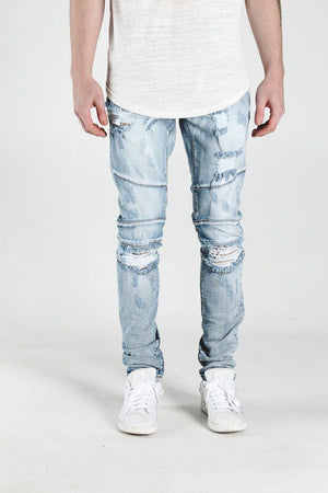 Mens Crysp Denim Montana Ripped Knee Jeans In Light Blue Stone