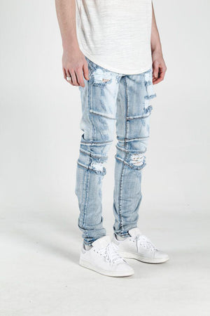 Mens Crysp Denim Montana Ripped Knee Jeans In Light Blue Stone - Simons Sportswear