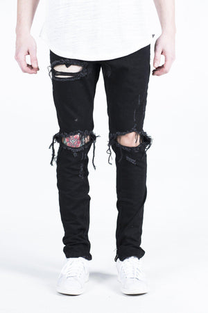 Mens Crysp Denim Pacific Black Wax Ripped Jeans In Black - Simons Sportswear