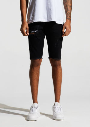 Mens Crysp Denim Pacific Denim Frayed Hem Shorts In Black - Simons Sportswear