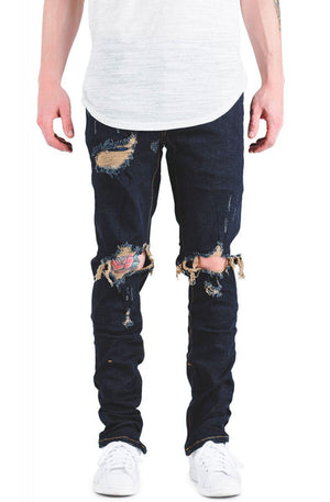Mens Crysp Denim Pacific Ripped Jeans In Dark Indigo - Simons Sportswear