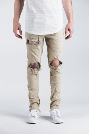 Mens Crysp Denim Pacific Ripped Jeans In Khaki - Simons Sportswear