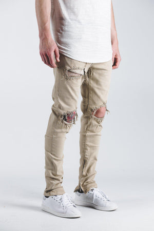 Mens Crysp Denim Pacific Ripped Jeans In Khaki