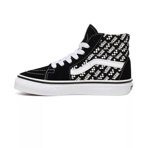 Preschool Kids Vans SK8-Hi Logo Repeat Skate Shoe In Black - Simons Sportswear