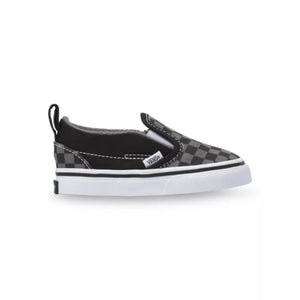 Toddler Kids Vans Classic Slip On Checkerboard Skate Shoe In Black Pewter - Simons Sportswear