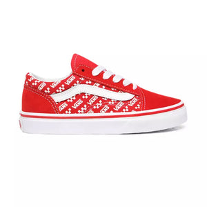 Preschool Kids Vans Old Skool Logo Repeat Shoes Skate Shoe In Racing Red - Simons Sportswear