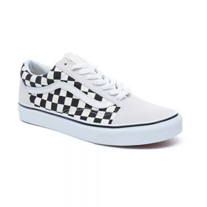 Mens Vans Old Skool Checkerboard Skate Shoe (White/Black) - Simons Sportswear