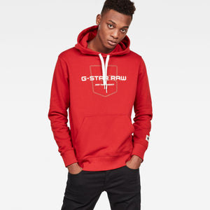 Mens G-Star Inc Graphic 33 Core Sweatshirt Hoodie In Deep Flame - Simons Sportswear